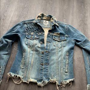 American flag punk jean jacket
